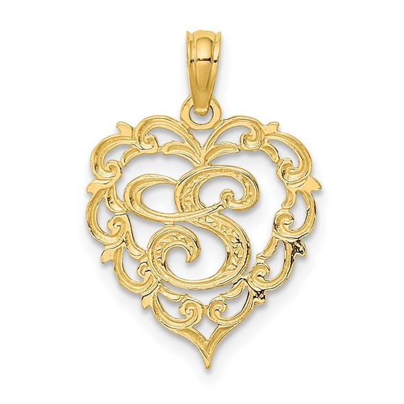 14k Yellow Gold S Script Initial In Heart Pendant