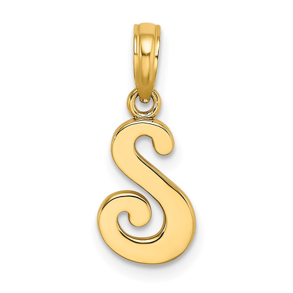 14k Yellow Gold Polished S Script Initial Pendant