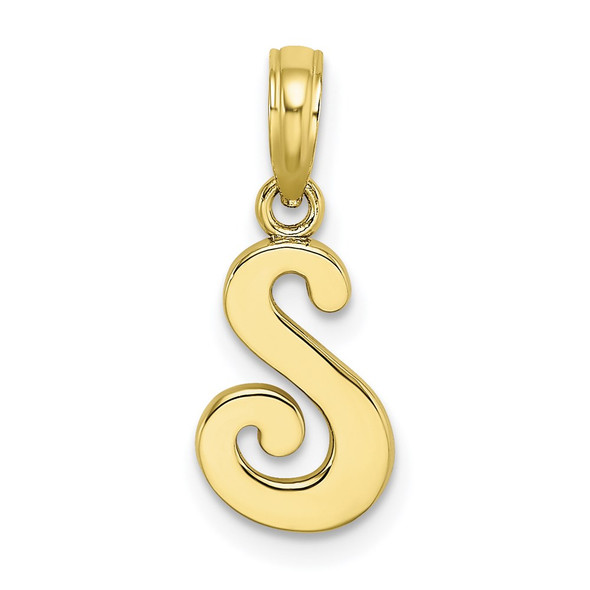10k Yellow Gold Polished S Script Initial Pendant