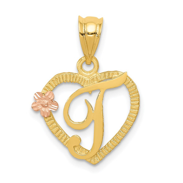 14k Yellow and Rose Gold Initial T In Heart Pendant