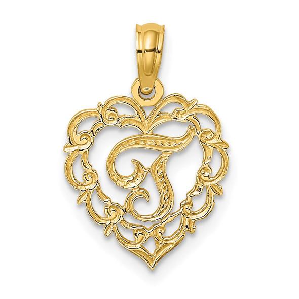 14k Yellow Gold T Script Initial In Heart Pendant