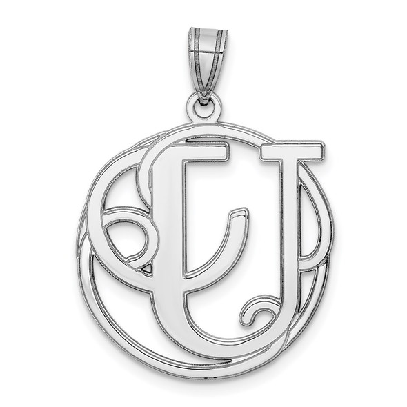 Sterling Silver Rhodium-plated Fancy Script Initial U Pendant