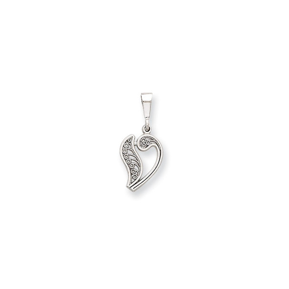 14K White Gold Solid Polished Filigree Initial V Pendant