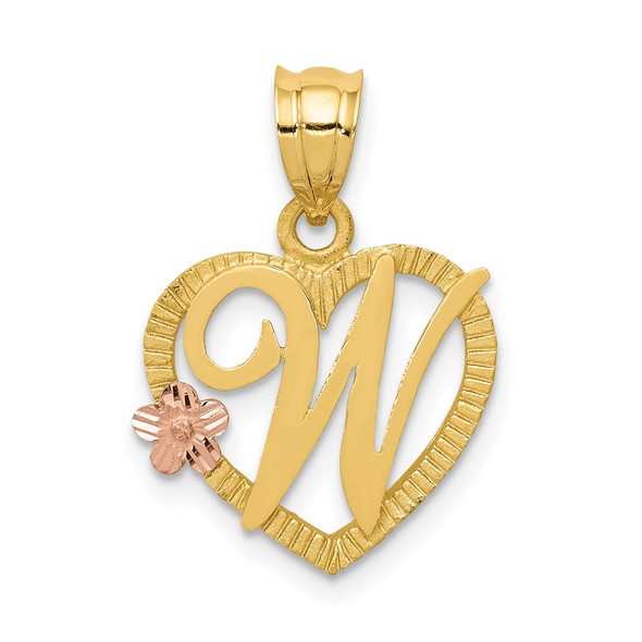 14k Yellow and Rose Gold Initial W In Heart Pendant