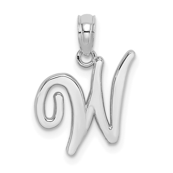 14k White Gold Polished W Script Initial Pendant
