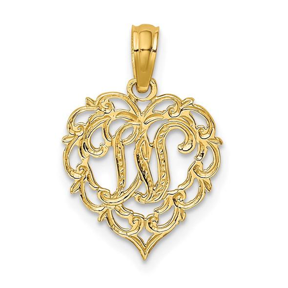 14k Yellow Gold W Script Initial In Heart Pendant