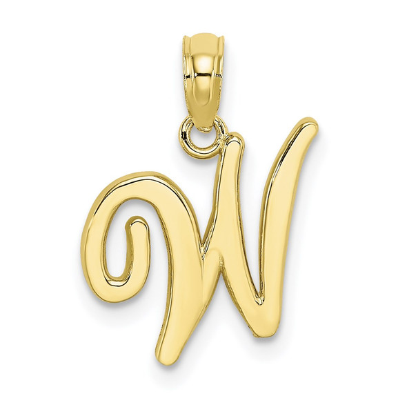 10k Yellow Gold Polished W Script Initial Pendant