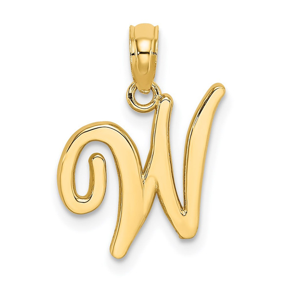 14k Yellow Gold Polished W Script Initial Pendant