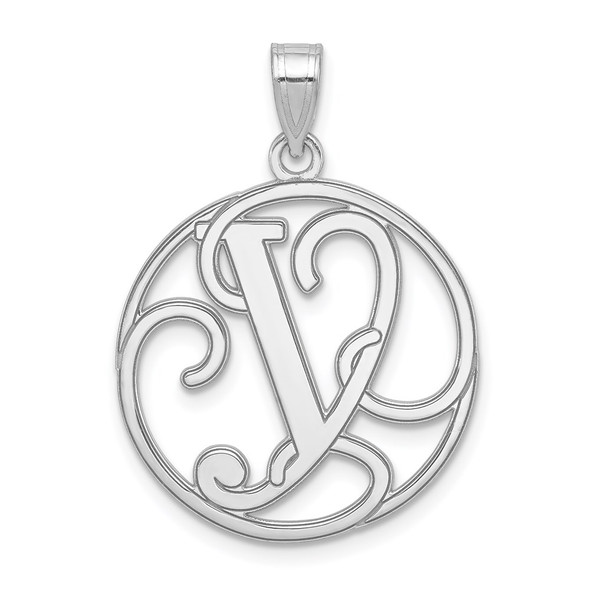Sterling Silver Rhodium-plated Fancy Script Initial Y Pendant