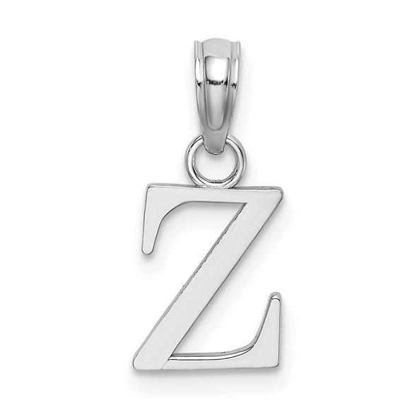 14k White Gold Polished Z Block Initial Pendant