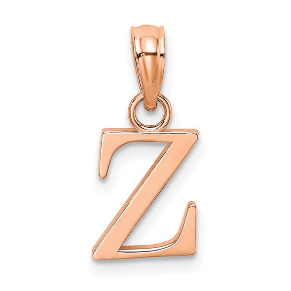 14K Rose Gold Polished Z Block Initial Pendant