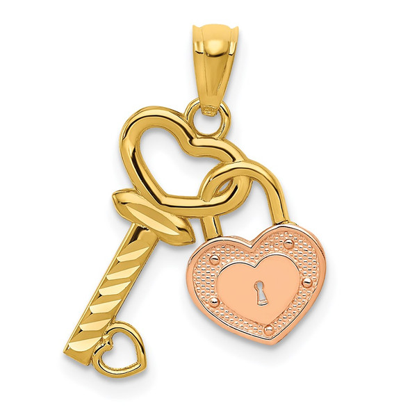 14k Yellow and Rose Gold Heart Lock and Key Pendant
