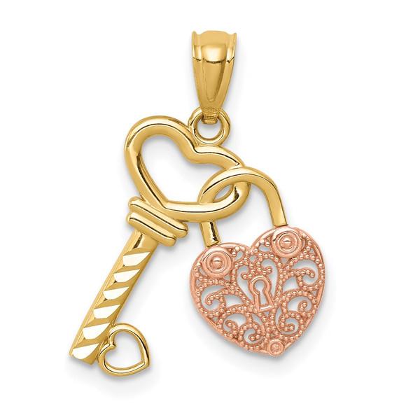 14k Two-tone Gold Polished Filigree Heart Lock and Diamond-cut Key Pendant