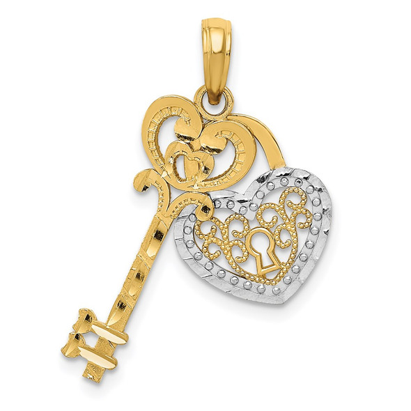 14k Gold and White Rhodium Polished Filigree Heart Key and Heart Lock Pendant