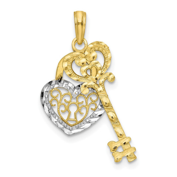 10k Yellow Gold w/Rhodium Filigree Heart Lock and Key Pendant