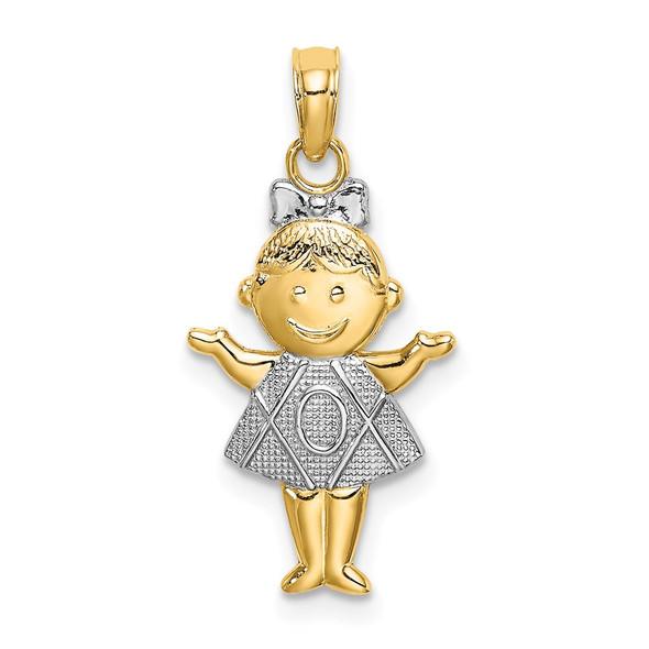 14k Yellow Gold And Rhodium Textured Girl Pendant