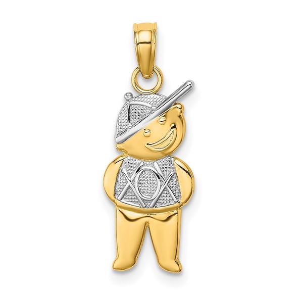 14k Yellow Gold And Rhodium Textured Boy Pendant