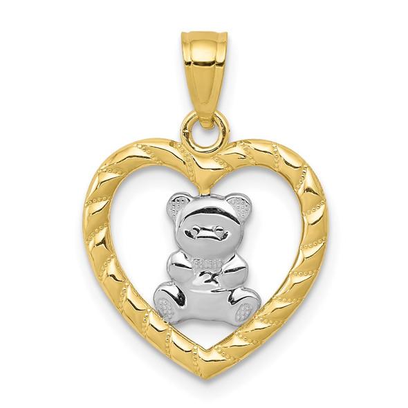10k Yellow Gold With Rhodium-Plating Teddy Bear Heart Pendant