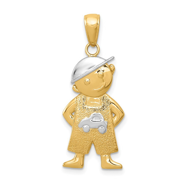 14k Yellow Gold and Rhodium Boy w/Hands In Pockets Pendant