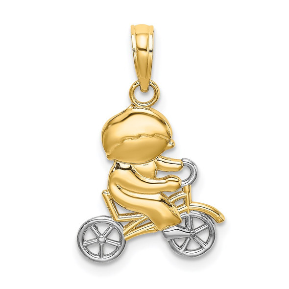 14k Yellow Gold And Rhodium Little Boy On Bicycle Pendant