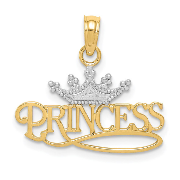14k Yellow Gold And Rhodium Polished Princess With Crown Pendant