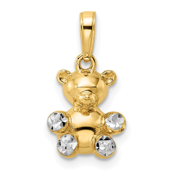 14k Yellow Gold and White Rhodium 3D Diamond-cut Teddy Bear Pendant