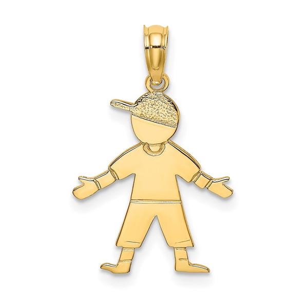 14k Yellow Gold Boy w/Baseball Cap Pendant