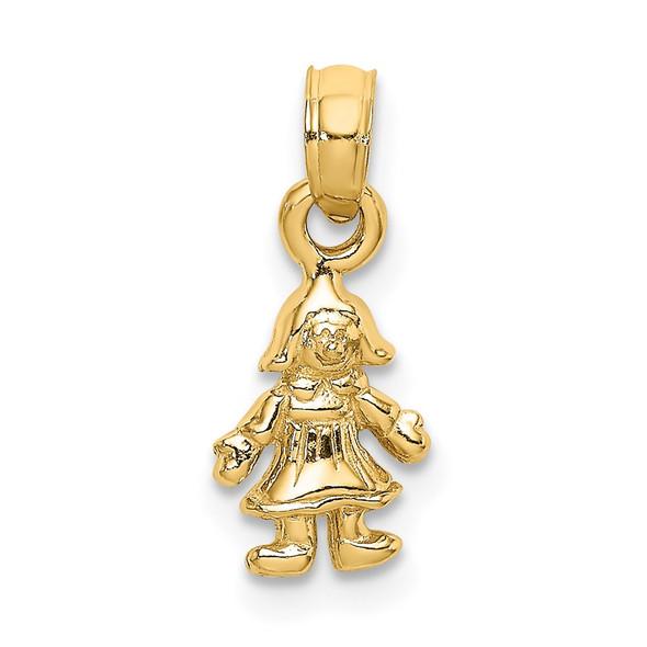 14k Yellow Gold 3-D Mini Doll Pendant