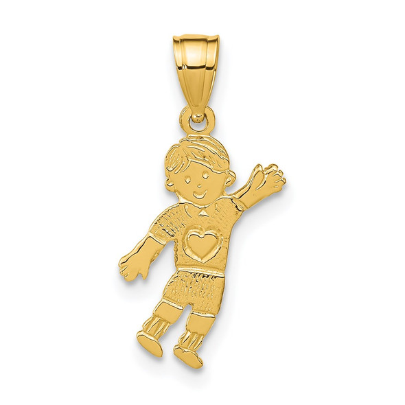 14k Yellow Gold Boy Waving With Heart On Pocket Pendant