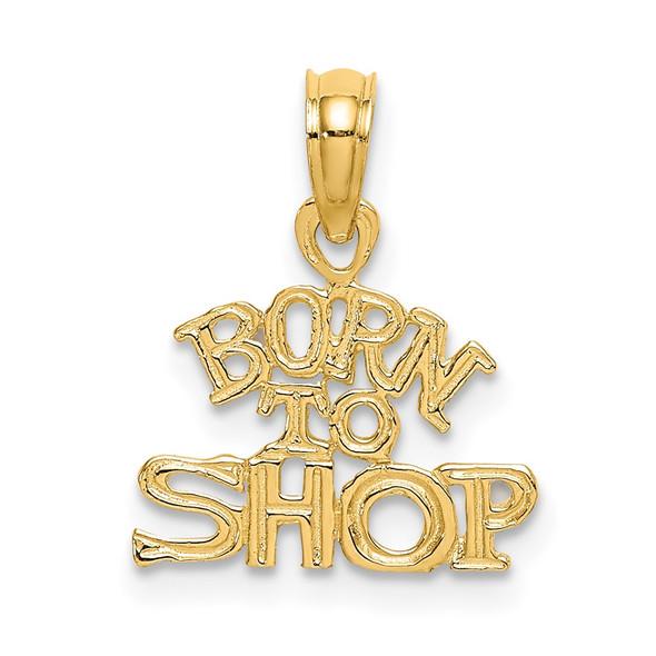14k Yellow Gold Born To Shop Pendant