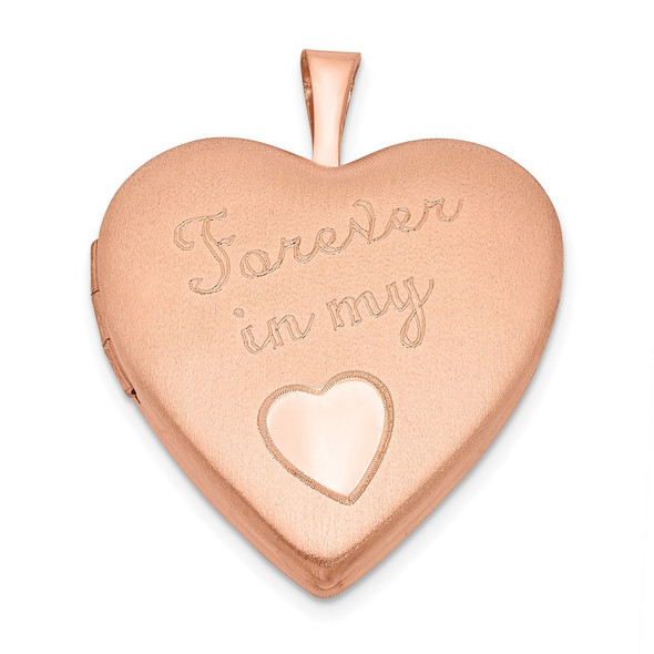 Pink-Finish Sterling Silver 20mm Forever In My Heart Locket Pendant