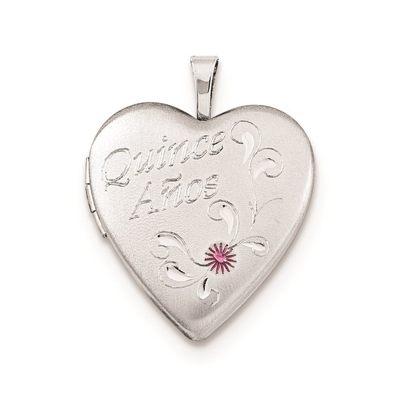 Sterling Silver 20mm Enameled Diamond-Cut Quince Anos Heart Locket Pendant