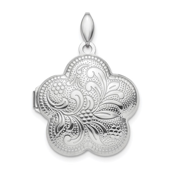 Rhodium-Plated Sterling Silver Polished 21mm Domed Flower Locket Pendant