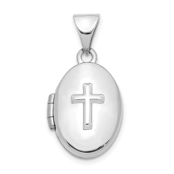 14K White Gold with Cross 16mm Oval Locket Pendant