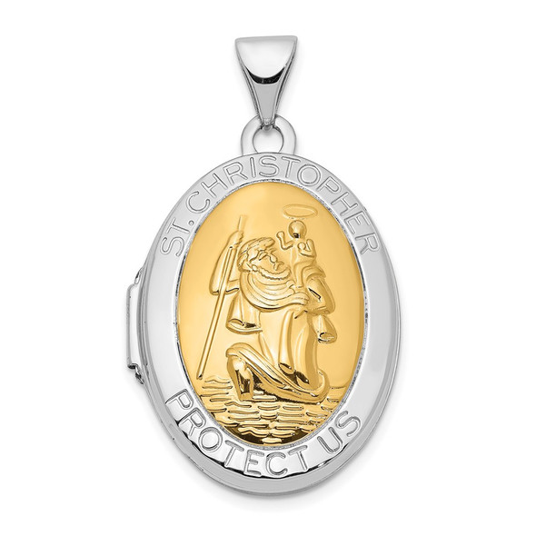 14k White Gold With 14k Yellow Gold Accent 23mm Saint Christopher Locket Pendant