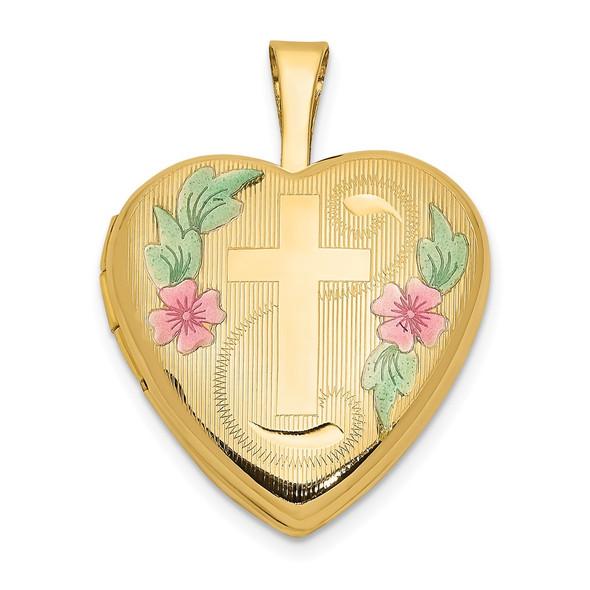 14k Yellow Gold 16mm with Enamel Flowers Cross Heart Locket