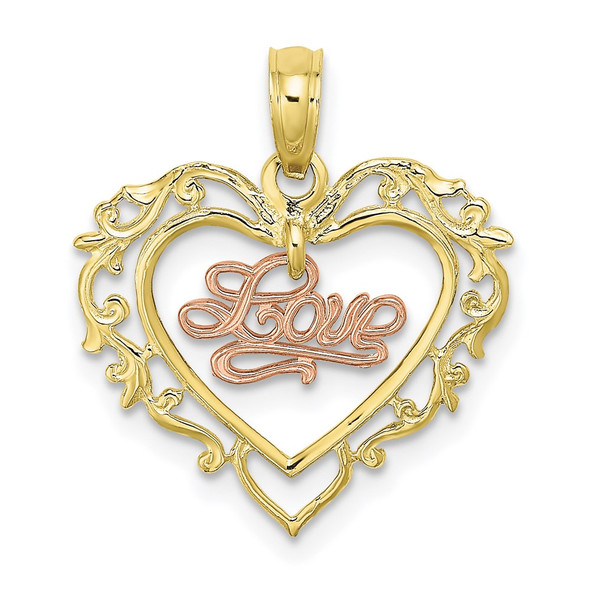 10k Yellow and Rose Gold Love In Heart Pendant