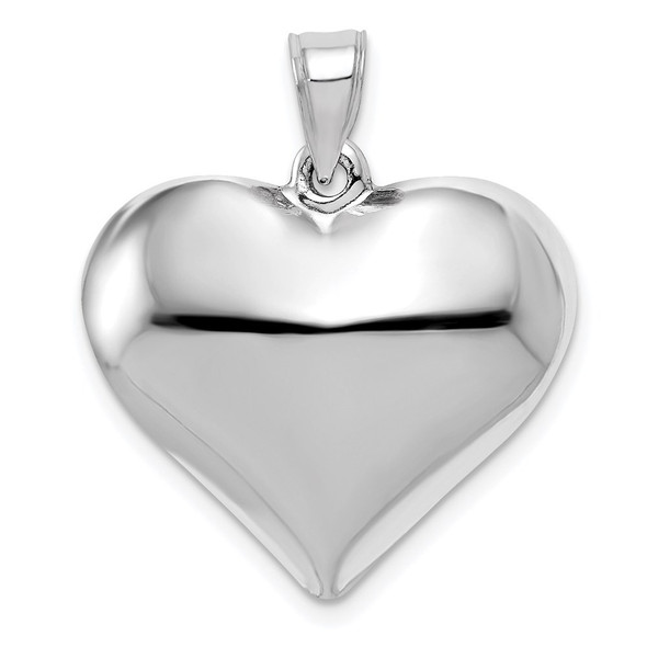 14k White Gold Polished 3D Puffed Heart Pendant D2889