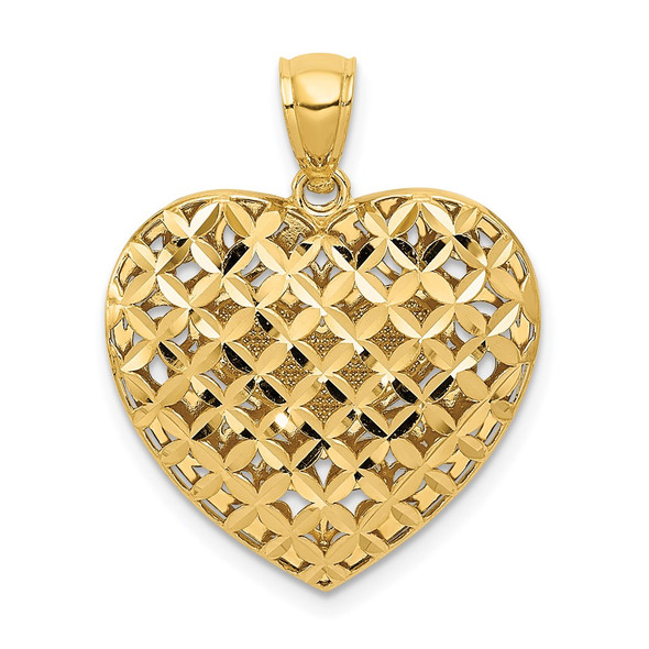 14k Yellow and White Gold Filigree and Basket Weave Reversible Heart Pendant