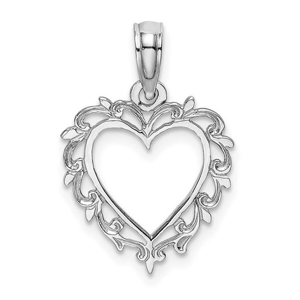 10k White Gold Heart w/Lace Trim Pendant