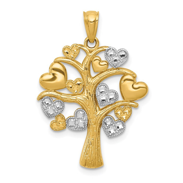 14k Yellow Gold And Rhodium Polished Hearts Tree Pendant