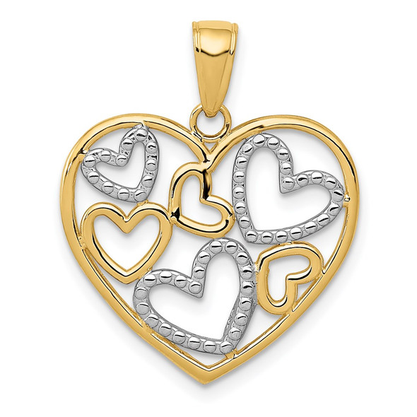 14k Yellow Gold And Rhodium Polished Hearts Inside Heart Pendant