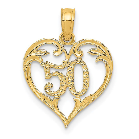 14k Yellow Gold 50 In Heart Cut-Out Pendant