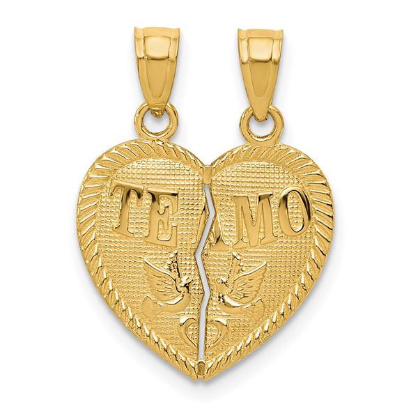 14k Yellow Gold Break Apart Diamond-Cut Te Amo Heart Pendant