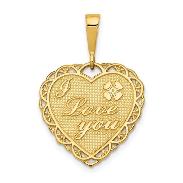 14k Yellow Gold Reversible I Love You Heart Pendant