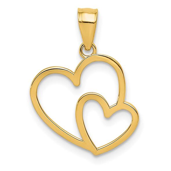 14k Yellow Gold Polished Double Heart Pendant K4671