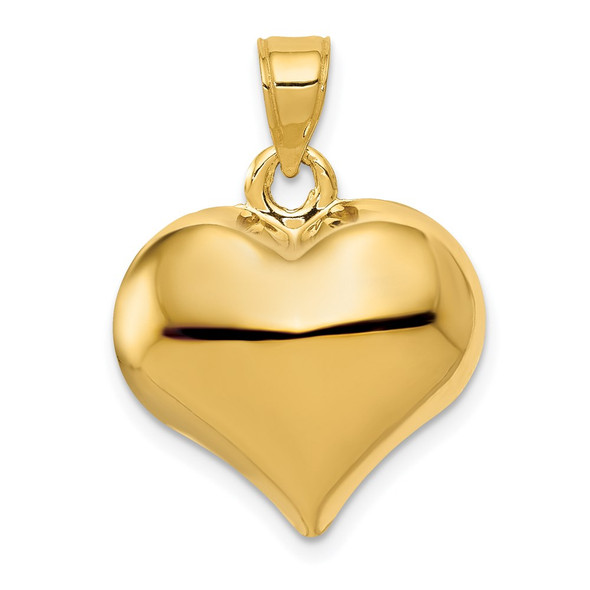 14k Yellow Gold Polished 3-D Puffed Heart Pendant C2912