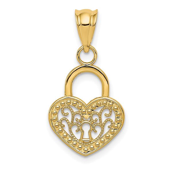 14k Yellow Gold Polished Filigree Heart Lock Pendant