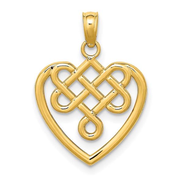 14k Yellow Gold Small Celtic Knot Heart Pendant
