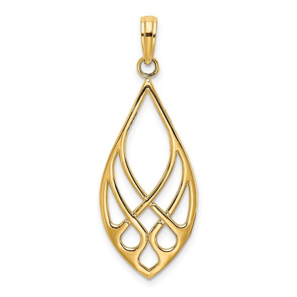 14k Yellow Gold Celtic Knot Teardrop Pendant